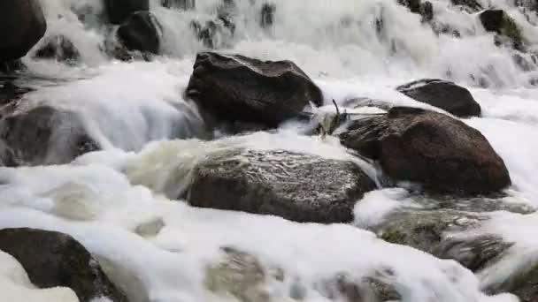 Eau moussante parmi les pierres — Vidéo