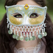 Mysterious woman in mask — 图库照片