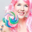 Beautiful happy girl with pink hair — Stock Photo