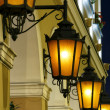 The historic street lights at night  — Stockfoto