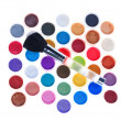 Makeup brushes and cosmetic powder  — Stock Photo