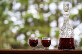 Decanter and wineglasses of red wine outdoors — Stock Photo