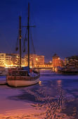 Port of Gdansk in winter — Stock Photo