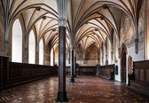 The Grand Chamber in the Gothic style castle in Malbork. — Stock Photo