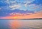 Beautiful sunset over the lake.HDR-high dynamic range — Stock Photo