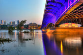 View from the steel bridge to Warsaw at dusk — Foto Stock