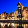 Old town on Motlawa in Gdansk at night — Stock Photo #49523325