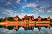 Teutonic Knights in Malbork castle in summer. World Heritage List UNESCO — Stock Photo
