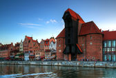 Crane in the old town in Gdansk — Stock Photo