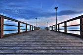 Wooden pier at Kuznica — Stock Photo