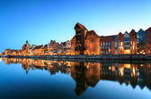 The old town in Gdansk at dusk — Stock Photo