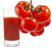 Tomatoes and tomato juice — Stock Photo