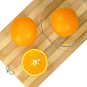 Oranges on board — Stock fotografie