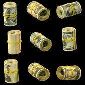 Money on a black background — Stock Photo