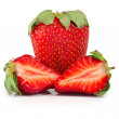 Stock Photo: Three strawberries isolate