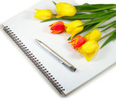 Notebook and flowers — Stockfoto