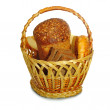 Basket with fresh bread isolate — Stock Photo