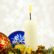 Isolated image of Christmas candles and Christmas balls on white background — Stock Photo #50145303