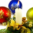 Isolated image of Christmas candles and Christmas balls on white background — Stock Photo #50145313
