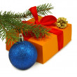 Isolated image of gift box, fir branches and blue Christmas ball — Stock Photo #50145335