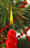 Red candle  on the Christmas tree background  — Foto Stock