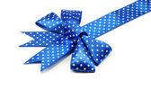 Image of holiday blue bow and ribbon — Stock Photo