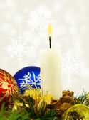 Isolated image of Christmas candles and Christmas balls on white background — Stock Photo