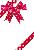 red gift bow and ribbon on a white background — Stock Photo
