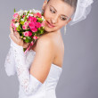 Bride in white wedding dress - Stock Photo