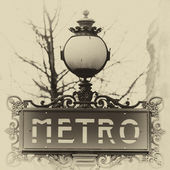 Typical Metropolitain sign in Paris, France — Stockfoto