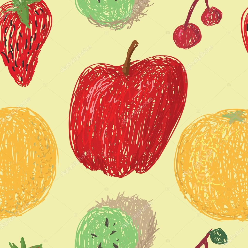 Loose drawings of various fruit in a seamless pattern on a pale yellow background.  Stock Vector #13230121