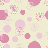 Pink Floral and Polka Dot Pattern — Stock Vector