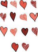 Set of Fourteen Hearts — Vector de stock