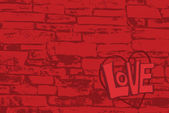 Brick Wall Love — Stok Vektör