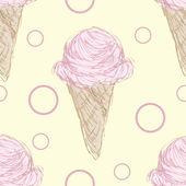 Wzór różowy lodów stożek — Wektor stockowy