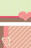 Sweet Heart Themed Notecards — Stock Vector