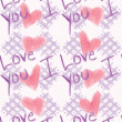Shabby Chic I Love You Pattern — Stock Vector
