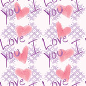 Shabby Chic I Love You Pattern — 图库矢量图片