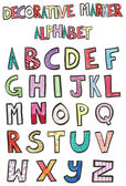 Decorative Marker Alphabet — Stock Vector