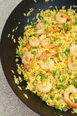 Shrimp and rice — Stock Photo