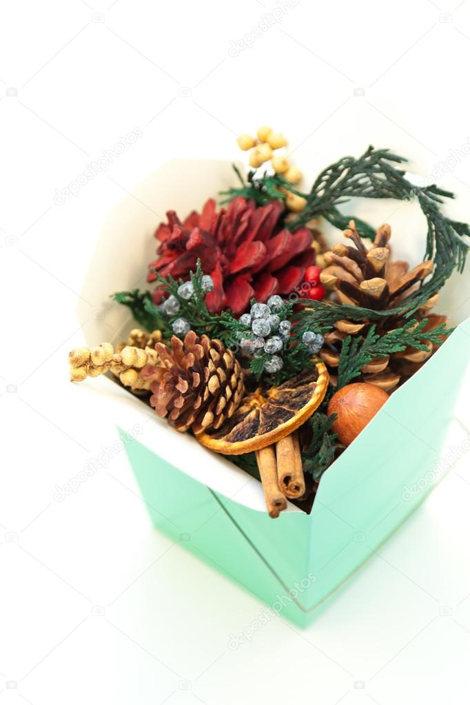 Christmas decoration with scented cones in a box  Stock Photo #14497663