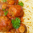 spaghetti and meatballs — Stock Photo