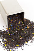 Black tea spilling out of a tea box — Stock Photo