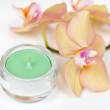 Candle and orchid — Stock Photo