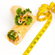Deli Tortilla wrap with tape measure - Stock Photo