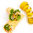 Deli Tortilla wrap with tape measure — Stock Photo