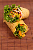 Wrapped tortilla sandwich rolls — Stockfoto