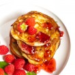 Pancakes with raspberries — Stock Photo #31228467