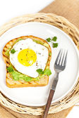 Avocado Toast with Fried Egg — Stock Photo
