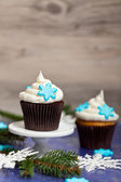 Cupcake. Christmas theme. — Stockfoto